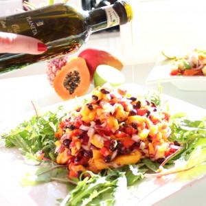 Olivolja från Planeta tillsammans med het mango och bönsallad